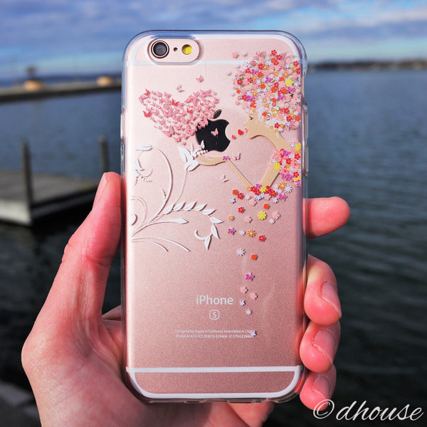 MADE IN JAPAN Soft Clear iPhone 6/6s Case - Flowers Girl Heart Butterfly - Dhouse USA - 4