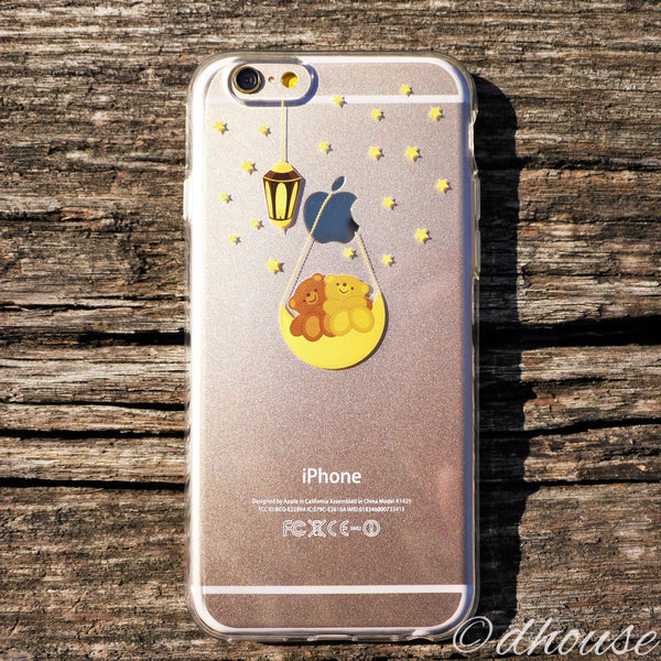 MADE IN JAPAN Soft Clear iPhone 6/6s Case - Cute Bear on Moon Swing - Dhouse USA - 3
