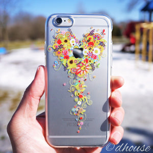 MADE IN JAPAN Soft Clear iPhone Case - Bouquet Flowers Heart - Dhouse USA - 1