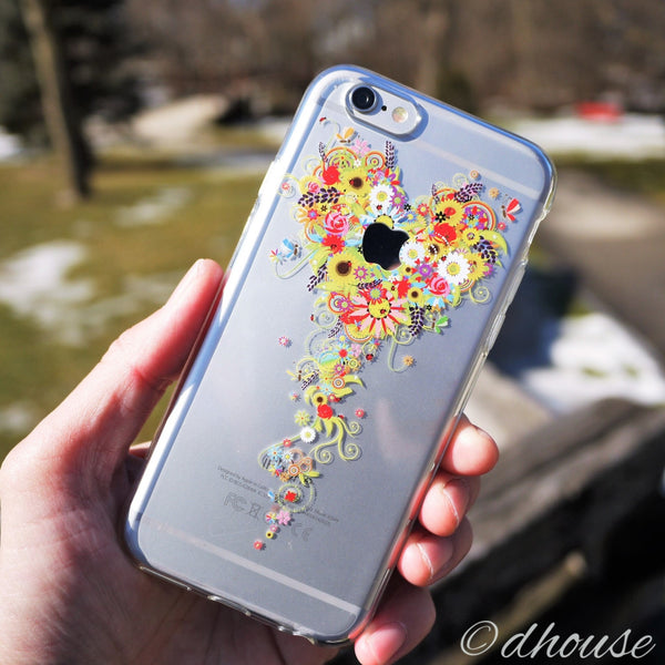 MADE IN JAPAN Soft Clear iPhone Case - Bouquet Flowers Heart - Dhouse USA - 4