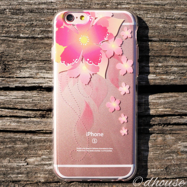 MADE IN JAPAN Soft Clear iPhone 6/6s Case - Retro Flowers Red - Dhouse USA - 3