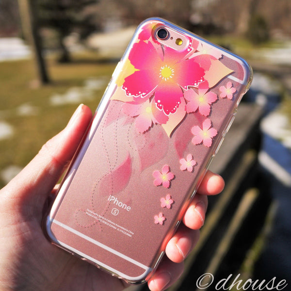 MADE IN JAPAN Soft Clear iPhone 6/6s Case - Retro Flowers Red - Dhouse USA - 4