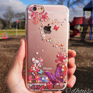 MADE IN JAPAN Soft Clear iPhone 6/6s Case - Colorful Butterfly - Dhouse USA - 1