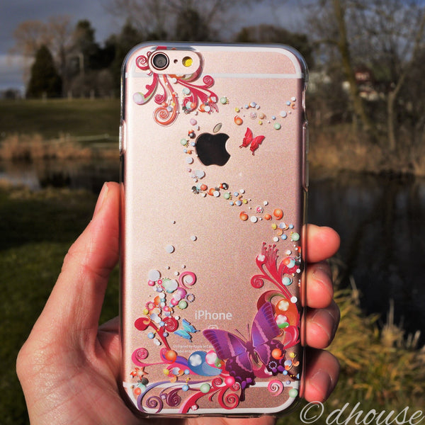 MADE IN JAPAN Soft Clear iPhone 6/6s Case - Colorful Butterfly - Dhouse USA - 3