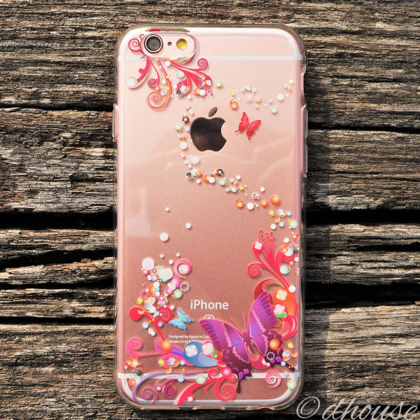 MADE IN JAPAN Soft Clear iPhone 6/6s Case - Colorful Butterfly - Dhouse USA - 4
