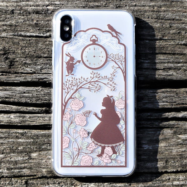 MADE IN JAPAN Hard Shell Clear Case for iPhone X - Alice in Wonderland
