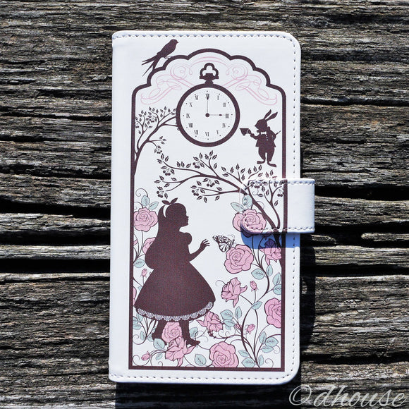 MADE IN JAPAN Cute Wallet iPhone Case Alice in Wonderland White