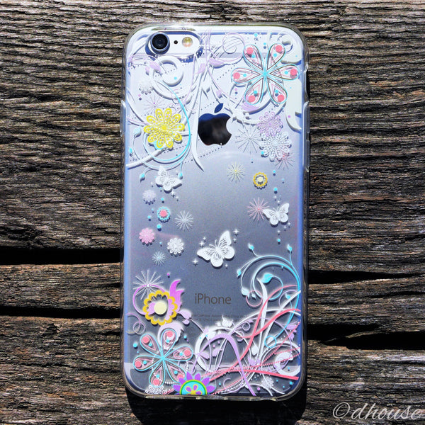 MADE IN JAPAN Soft Clear iPhone 6/6s Case - Colorful Butterfly Flowers - Dhouse USA - 1