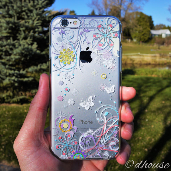 MADE IN JAPAN Soft Clear iPhone 6/6s Case - Colorful Butterfly Flowers - Dhouse USA - 3
