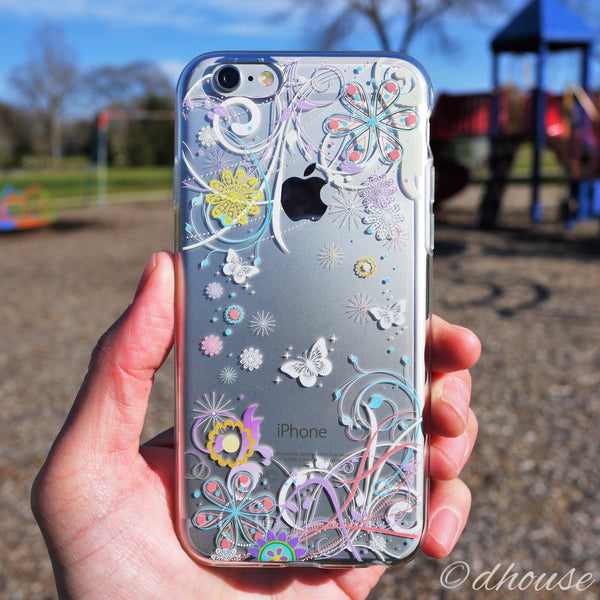 MADE IN JAPAN Soft Clear iPhone 6/6s Case - Colorful Butterfly Flowers - Dhouse USA - 4