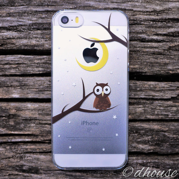 MADE IN JAPAN Hard Shell Clear Case for iPhone SE - Cute Owl - Dhouse USA - 1