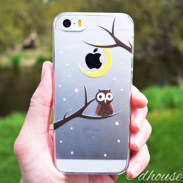 MADE IN JAPAN Hard Shell Clear Case for iPhone SE - Cute Owl - Dhouse USA - 3