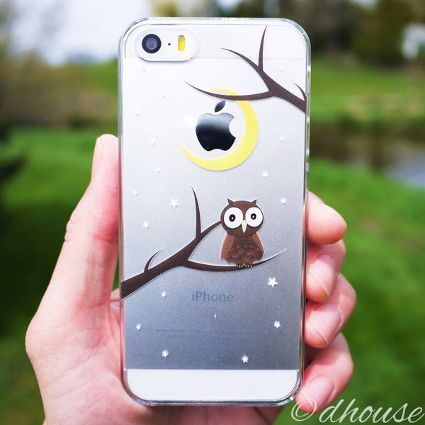 MADE IN JAPAN Hard Shell Clear Case for iPhone SE - Cute Owl - Dhouse USA - 4