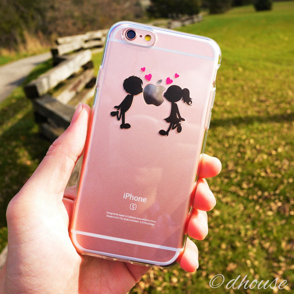 MADE IN JAPAN Soft Clear Case - Little Couple Love Kiss for iPhone 6/6s - Dhouse USA - 1