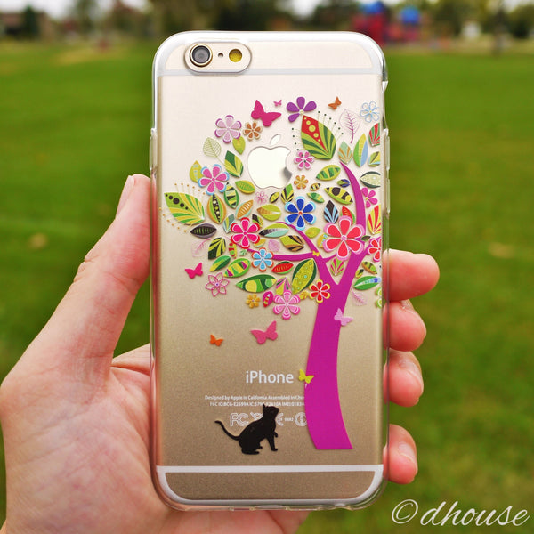 MADE IN JAPAN Soft Clear Case - Cat Flower Tree for iPhone 6/6s - Dhouse USA - 1