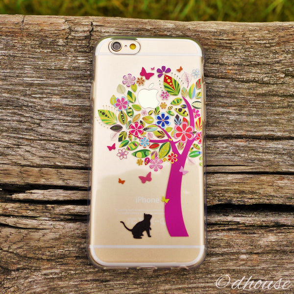MADE IN JAPAN Soft Clear Case - Cat Flower Tree for iPhone 6/6s - Dhouse USA - 3