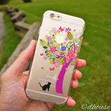 MADE IN JAPAN Soft Clear Case - Cat Flower Tree for iPhone 6/6s - Dhouse USA - 4