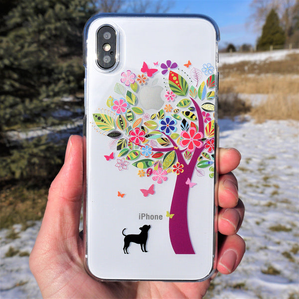 MADE IN JAPAN Hard Shell Clear Case for iPhone X - Dog Color Tree