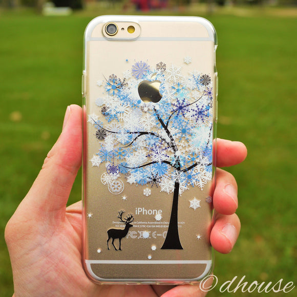 MADE IN JAPAN Soft Clear iPhone 6/6s Case - Reindeer Snow Tree - Dhouse USA - 1