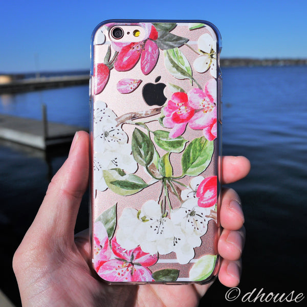 MADE IN JAPAN Soft Clear iPhone 6/6s Case - Peach Blossom Flowers - Dhouse USA - 1