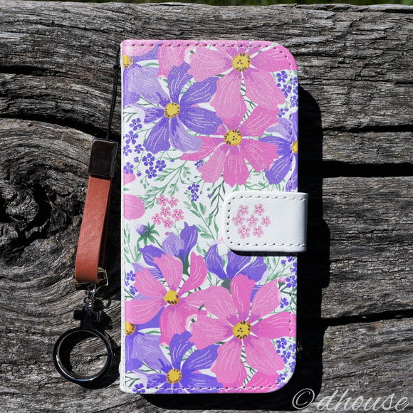 Cute Wallet iPhone Case - Cosmos Purple Flowers Made in Japan by DHOUSE