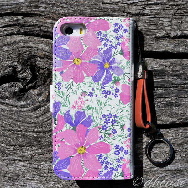 MADE IN JAPAN Wallet Case - Cosmos Purple Flowers for iPhone SE / 5 / 5s - Dhouse USA - 8