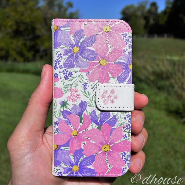 MADE IN JAPAN Wallet Case - Cosmos Purple Flowers for iPhone SE / 5 / 5s - Dhouse USA - 9