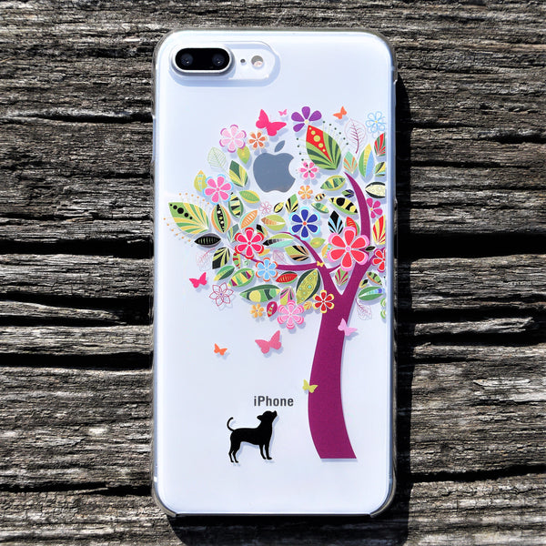 MADE IN JAPAN Hard Shell Clear Case for iPhone 8/8 Plus - Dog Color Tree