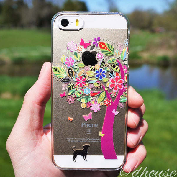 MADE IN JAPAN Hard Shell Clear Case - Dog Color Flower Tree for iPhone SE/5/5s - Dhouse USA - 2