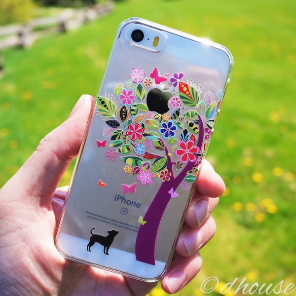 MADE IN JAPAN Hard Shell Clear Case - Dog Color Flower Tree for iPhone SE/5/5s - Dhouse USA - 1