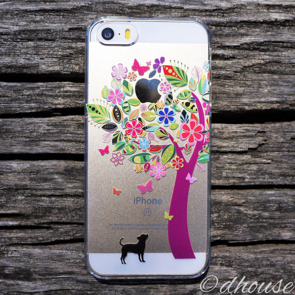 MADE IN JAPAN Hard Shell Clear Case - Dog Color Flower Tree for iPhone SE/5/5s - Dhouse USA - 5
