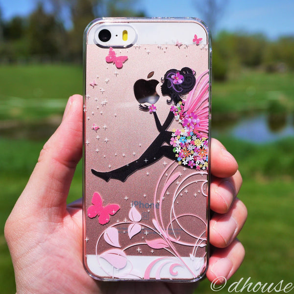 MADE IN JAPAN Hard Shell Clear Case - Cute Fairy Flowers for iPhone SE/5/5s - Dhouse USA - 4