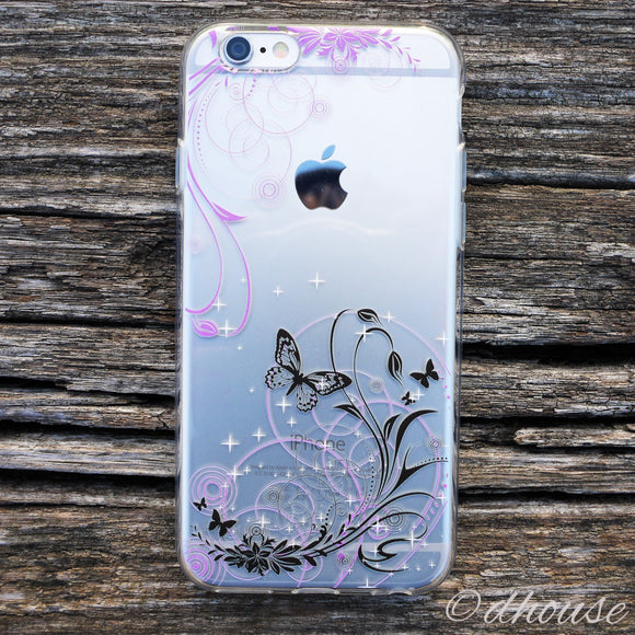 MADE IN JAPAN Soft Clear iPhone Case - Flowers and Butterfly - Dhouse USA - 1