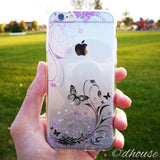 MADE IN JAPAN Soft Clear iPhone Case - Flowers and Butterfly - Dhouse USA - 3
