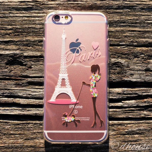 MADE IN JAPAN Soft Clear iPhone 6/6s Case - Girl Love Paris Eiffel Tower - Dhouse USA - 1