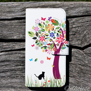 Cute Wallet iPhone Case - Cat Flower Tree Made in Japan by DHOUSE