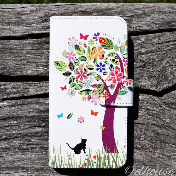 MADE IN JAPAN Wallet Case for iPhone 6/6s  - Cat Flower Tree - Dhouse USA - 1