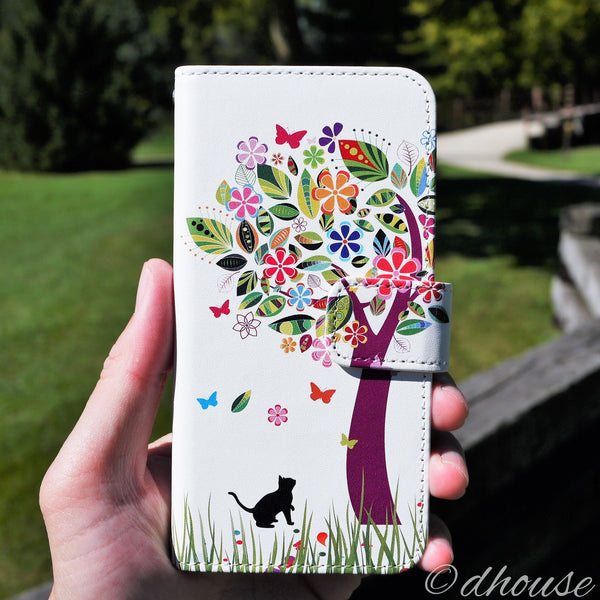 MADE IN JAPAN Wallet Case for iPhone 6/6s  - Cat Flower Tree - Dhouse USA - 8
