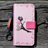Cute Wallet iPhone Case Cute Fairy Flowers Pink Made in Japan by DHOUSE
