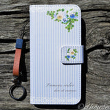 Cute Wallet iPhone Case - Viola Flowers Blue Stripe Made in Japan by DHOUSE