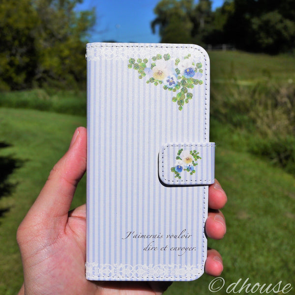 MADE IN JAPAN Wallet Case - Viola Flowers Blue Stripe iPhone 6/6s - Dhouse USA - 4