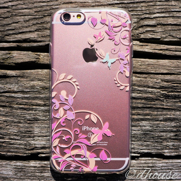 MADE IN JAPAN Soft Clear iPhone 6/6s Case - Butterfly Flowers Purple - Dhouse USA - 1