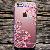 Cute Soft Clear iPhone Case - Butterfly Flowers Purple Made in Japan by DHOUSE