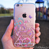 MADE IN JAPAN Soft Clear iPhone 6/6s Case - Butterfly Flowers pink purple - Dhouse USA - 1