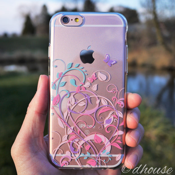 MADE IN JAPAN Soft Clear iPhone 6/6s Case - Butterfly Flowers pink purple - Dhouse USA - 4