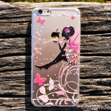 Cute Hard Shell Clear iPhone Case - Cute Fairy Flowers - Made in Japan by DHOUSE