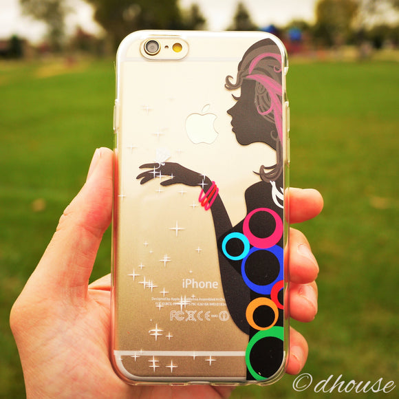 MADE IN JAPAN Soft Clear iPhone Case - Colorful Ring Girl - Dhouse USA - 1