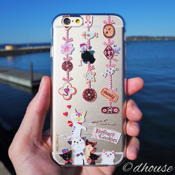MADE IN JAPAN Soft Clear iPhone 6/6s Case - Cats and Cookies - Dhouse USA - 1