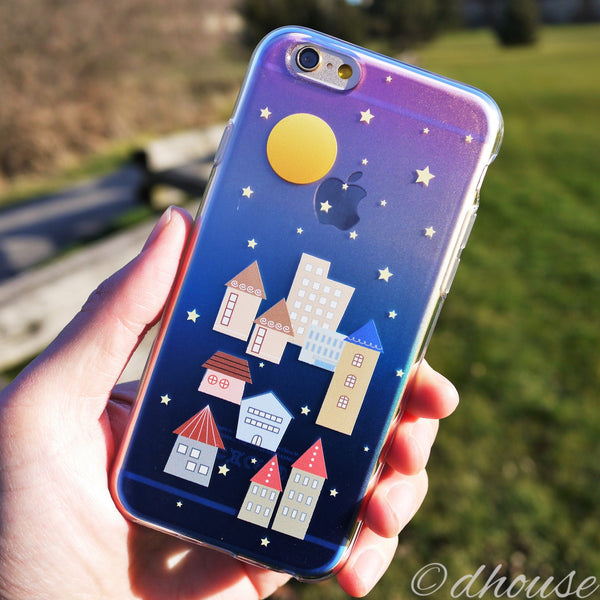 MADE IN JAPAN Soft Clear iPhone 6/6s Case - City Night Houses - Dhouse USA - 3