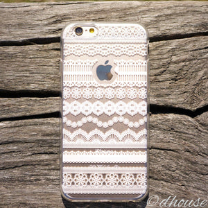 MADE IN JAPAN Soft Clear iPhone 6/6s Case White Lace Pattern - Dhouse USA - 1